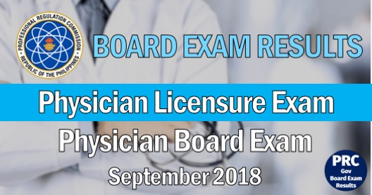 Physician Licensure Exam 2018 Results